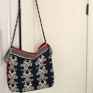Blue and red printed crossbody bag